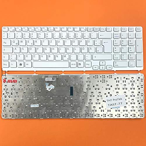 DE Weiß Tastatur mit Silber Rahmen ohne Beleuchtung ver.2 für Sony Vaio SVE-17