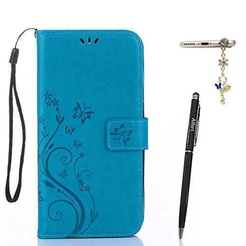 Alfort Samsung Galaxy A3 (2017) Hülle, Samsung Galaxy A3 (2017) Schutzhülle, Lederhülle PU Leder Tasche Cover Wallet Hülle für Samsung A3 2017 Smartphone Schmetterling (Blau) + Stylus Pen