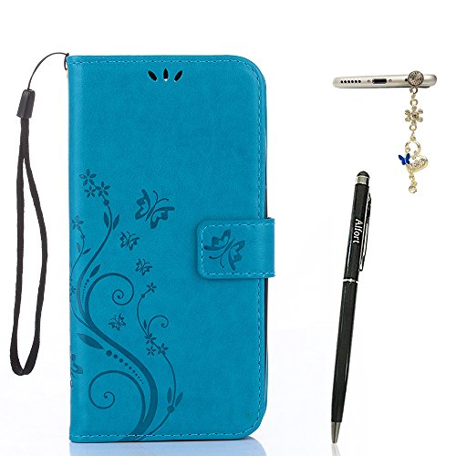 Alfort Samsung Galaxy A3 (2017) Hülle, Samsung Galaxy A3 (2017) Schutzhülle, Lederhülle PU Leder Tasche Cover Wallet Case für Samsung A3 2017 Smartphone Schmetterling (Blau) + Stylus Pen