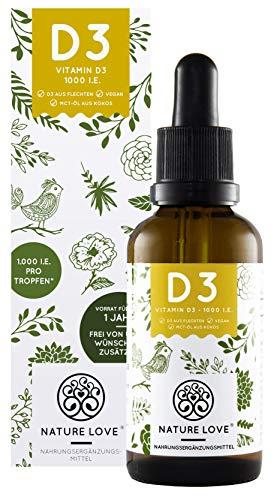 NATURE LOVE® Veganes Vitamin D3 (Cholecalciferol) 1000 IE. - 25 µg. Premium: Gewonnen aus Flechten, flüssig, in Tropfen. Vegan, hoch bioverfügbar & hergestellt in Deutschland