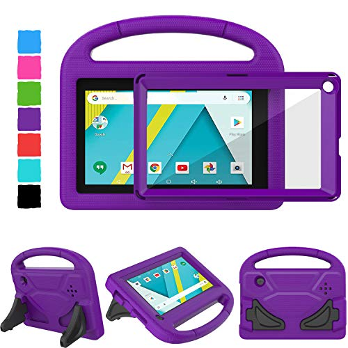 TIRIN RCA Voyager 7 Case, Kids Case for 7 Inch RCA III RCT6973W43 & II (2016/2017) Case with Built-in Screen Protector Light Weight Shockproof Stand Kids Case for RCA Voyager Pro 7 & I - Purple