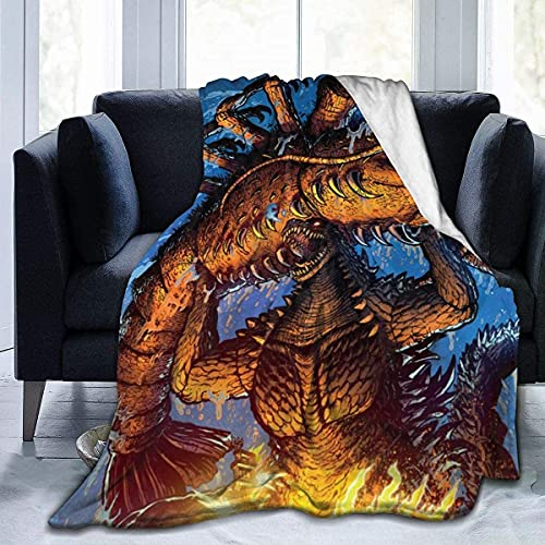 YEEATZ - Coperta moderna in pile, motivo: Godzilla Monsters Righelli della Terra, Ebirah The Sea Anime, coperta decorativa da uomo, ultra morbida e unica