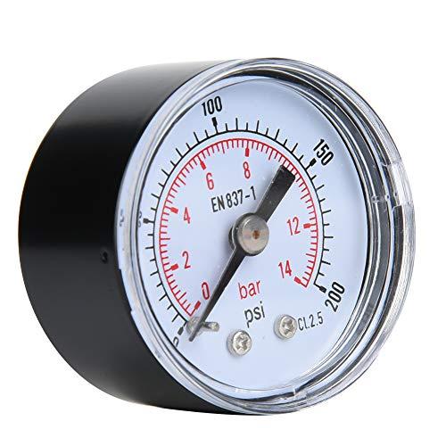 Mechanisches Manometer, 1/8 Zoll BSPT Axialmanometer für Luft, Öl und Wasser(0-200psi,0-14bar)