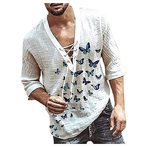 Camisa de manga larga para hombre, con estampado de mariposas, vintage, informal, manga larga, cuello en V, estilo bohemio