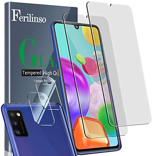 Ferilinso [4 Pack] 2 Piezas Protector de Pantalla para Samsung Galaxy A41 Cristal Templado + 2 Piezas Protector cámara Protector de Lente de Cámara [9H Dureza] [Compatible con la Funda] ⭐