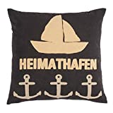 pad - Kissenhülle - Kissenbezug - Zierkissen - Sailor - Anthracite - Heimathafen - 45 x 45 cm