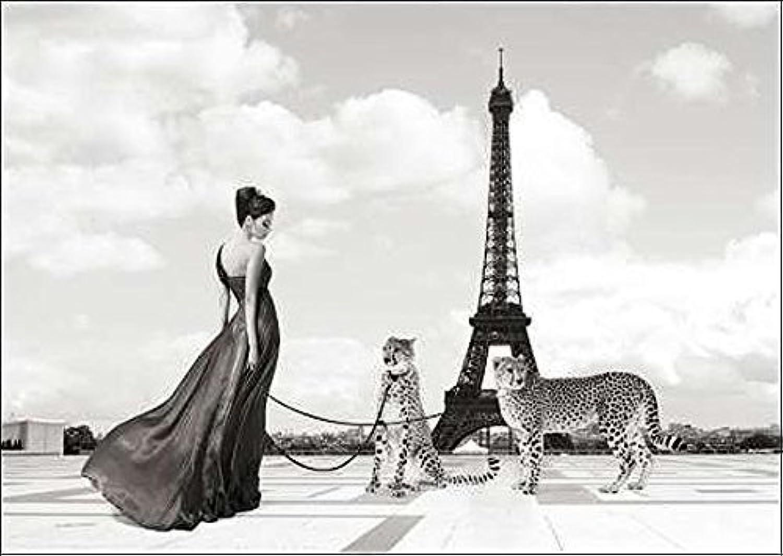 Keilrahmen-Bild - Julian Lauren  Trocadero View Leinwandbild Frau Paris Eiffelturm Raubkatzen Gepard Glamour Fashion (75x100)