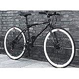 YXWJ 26/24 Pulgadas Bicicletas de montaña de los Hombres de Bicicleta de montaña 24 Marco de Velocidad Doble Freno de Disco Hardtail Bicicleta con Asiento Ajustable Negro Blanco (tamaño : 26 Inches)