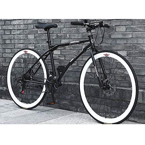 YXWJ 26/24 Mountain Bike inch degli Uomini di Mountain Bike 24 Telaio velocità Doppio Freno a Disco Hardtail Bicicletta con Sedile Regolabile Nero Bianco (Dimensione : 26 Inches)