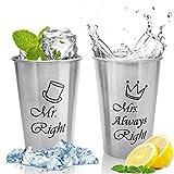 [page_title]-MCleanPin 2 x 500ml Edelstahlbecher'Mr. Right & Mrs. Always Right' Tassen Set Hochzeitsgeschenke Paare Geschenke für Hochzeit Valentinstag Stapelbare Trink Gläser Camping
