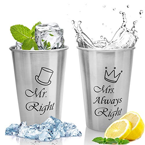 Unbreakable Love,Mr Right and Mrs Always Right Couple Mug, Wedding Gifts for Couple,Bridal Shower Gifts,Engagement Gifts or Christmas Gifts for Anniversary,Birthday,Growlers Cups,Beer Cups
