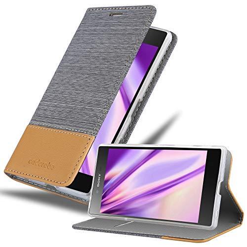 Cadorabo Hülle für Sony Xperia Z5 Premium - Hülle in HELL GRAU BRAUN – Handyhülle mit Standfunktion & Kartenfach im Stoff Design - Hülle Cover Schutzhülle Etui Tasche Book
