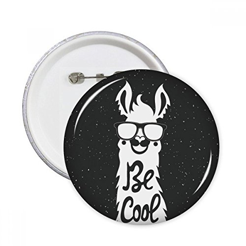 Be Cool Alpaca Black White Quote Round Pins Badge Button Emblem Accessory...