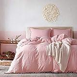 GWW 100% algodón lavado, funda nórdica con pompones de un solo color, ultra suave, ropa de cama con flecos con cremallera y corbatas, juego de 3 piezas