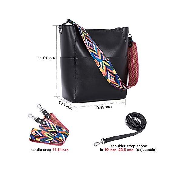 BROMEN Women Handbag Designer Vegan Leather Hobo Handbags Shoulder Bucket Cross-body Purse 4
