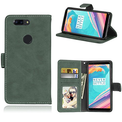 Capa para OnePlus 5T one plus 5T 1+5T proteção de couro PU com 3 compartimentos para cartões capa flip (Verde)