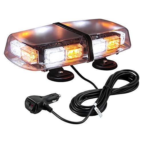 Luz LED Estroboscópica de Emergencia 7 Modos E57 36 LEDs Lampara de Advertencia Ámbar Blanco Magnético IP67 con Enchufe de Coche12/24V para Vehículo Tractor Camión
