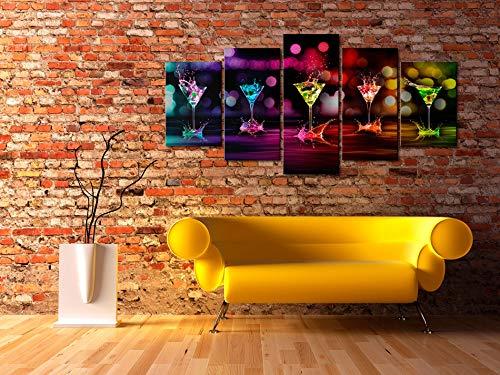 Bilder 200×100 cm – XXL Format – Fertig Aufgespannt – TOP – Vlies Leinwand – 5 Teilig – Wand Bild – Kunstdruck – Wandbild – Abstrakt Kunst 030107-2 200×100 cm B&D XXL - 2