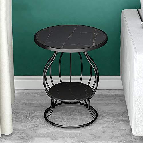 Tavolino rotondo in marmo, piano in marmo/staffa in metallo, può essere utilizzato come tavolo da lettura/tavolino/tavolino angolare/comodino, ecc. Stile industriale moderno/D / 50×58cm