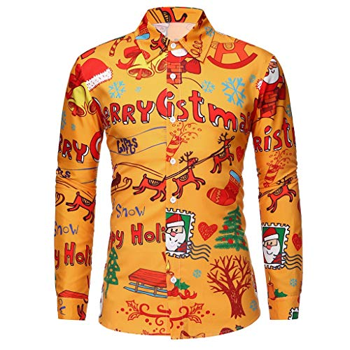 K-Youth Camisa Navidad Hombre Casual Ropa Adolescentes Chico Camisetas Manga Larga Hombre...
