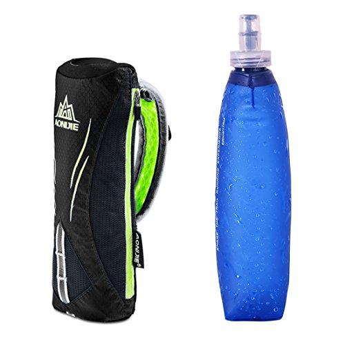 AONIJIE Männer/Frauen Sport Quick Grip Chill Handheld Water Bottle Trinkflasche Trinkrucksack mit 500ML Trinkflasche (Schwarz)