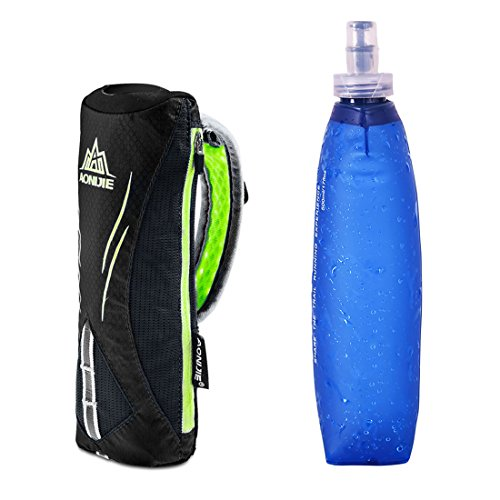 AONIJIE Bolsa de hidratación 500ml TPU Botella Soft Flask Bolsa de Hidratación Plegable a Prueba de Fugas Ideal(Negro)