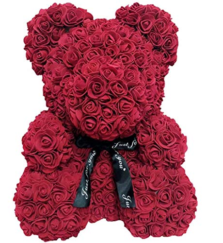 WANGSCANIS Oso de Peluche de Rosas Regalo para Novia Esposa Amor con Rosas Artificiales Oso Floral para Día de San Valentín Aniversario Cumpleaños (Vino tinto, 37cm)