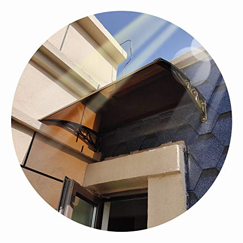 LIANGLIANG Vordach Haustür Überdachung, Stumm und Selbstreinigend Regenfest, Lichtübertragung Isolierung Anti-UV, Benutzt für Balkon Fenster Türöffnung (Color : Brown, Size : 100x80cm)