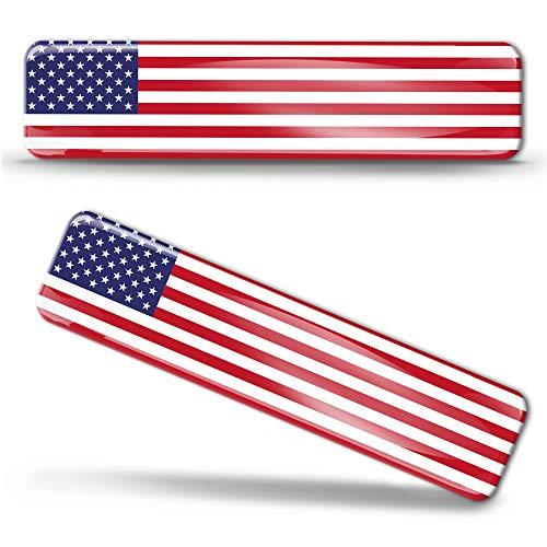 Biomar Labs® 2 x Aufkleber 3D Gel Silikon Stickers Vereinigte Staaten Amerika America USA Flag Flagge Fahne Autoaufkleber F 27