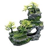 Decoraciones de acuarios Vista de montaña Piedra con roca de árboles de musgo para todas las tortugas de pescado con plástico adicional de plástico pintado a mano de resina amigable ecológica,Verde