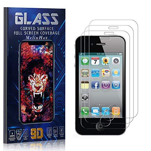 MelinHot Displayschutzfolie für iPhone 4S / iPhone 4, Anti Fingerabdruck, Ultra Dünn Blasenfrei Schutzfolie aus Gehärtetem Glas für iPhone 4S / iPhone 4, 3 Stück