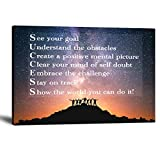 Motto Inspirational Wall Art Motivational Canvas Painting Modern Success See Your Goal Pictures Inspiring...