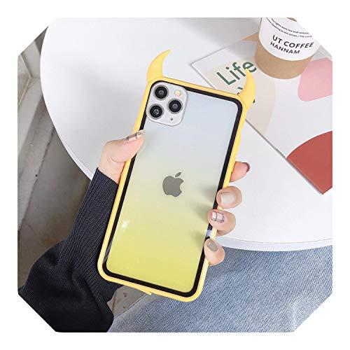 Lindo cuerno del diablo teléfono caso para iPhone 11 Pro Max XS Max XR X 6 6S 7 8 Plus cuerpo completo protector acrílico transparente cubierta trasera