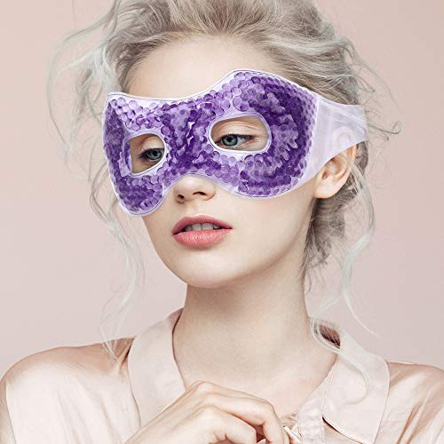 NEWGO®Gel Bead Eye Mask with Eye Holes Lavender-Scented Reusable Hot Cold Pack Eye Therapy for Puffy Eyes, Dry Eyes, Dark Circles, Migraines, Stress Relief - Purple