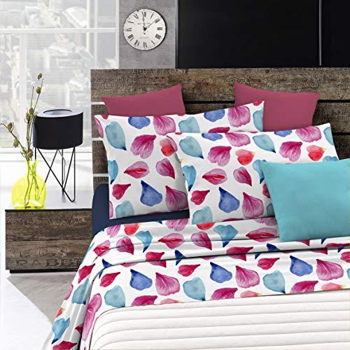 Italian Bed Linen Fantasy Completo Letto, Microfibra, Multicolore (Petali), Matrimoniale