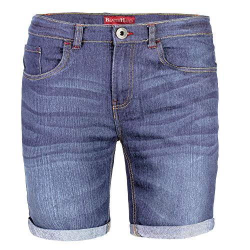 BlauerHafen Herren Designer Jeans Shorts Stretch Kurze Hose Super Flex Slim Fit Sommer Denim Half Pants Casual Bermuda (W34 (Taille: 89-91cm), Hellblau)