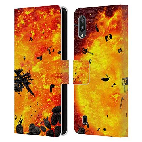 Head Case Designs Offizielle Simone Gatterwe Brennender Planet Wolke Und Raum Leder Brieftaschen Handyhülle Hülle Huelle kompatibel mit Samsung Galaxy M10 (2019)