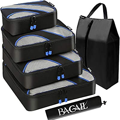 BAGAIL 6 Set Packing Cubes,Travel Luggage Packing Organizers with Laundry Bag(Black)