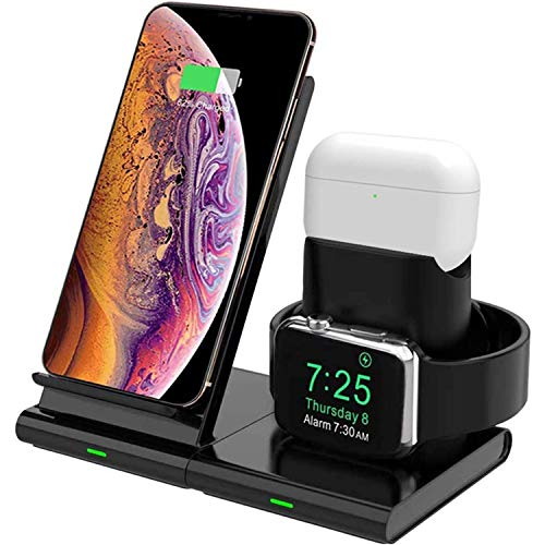 Hoidokly Caricatore Wireless 3 in 1 Ricarica Wireless Supporto di Caricabatterie Senza Fili Docking Station per Apple Watch Series 5/4/3/2/1, iPhone SE2/11 PRO Max/11/XS/XR/X/8 Plus/8 e AirPods PRO/2