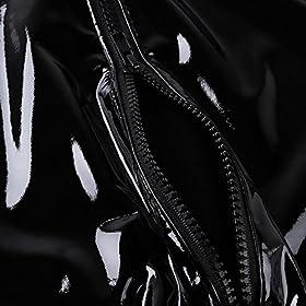 YONGHS Men's Shiny Metallic Faux Leather Short Sleeve Leotard Bodysuit Club Wear Costume