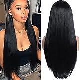 YEESHEDO Pelucas mujer cabello natural peluca larga recta sedosa negra, peluca de parte media sintética con rayita natural larga recta 26 pulgadas