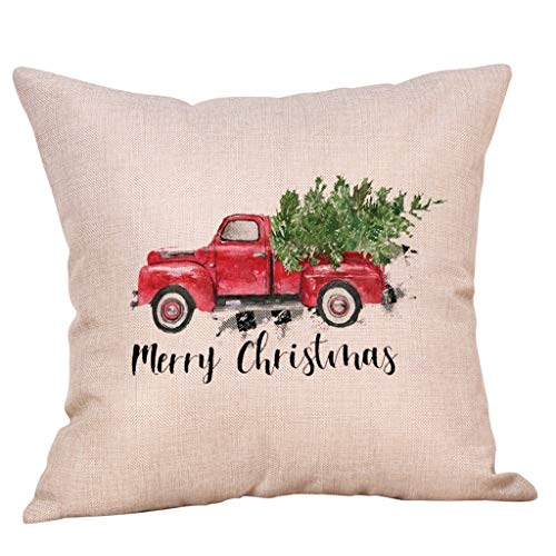 Shan-S Merry Christmas Cotton Linen Throw Pillow Cover Sofa Cushion Cover Home Decor Vintage Farm Truck Car Carrying Xmas Trees Gifts Holiday Country Farmhouse Decorative Cushion Cover