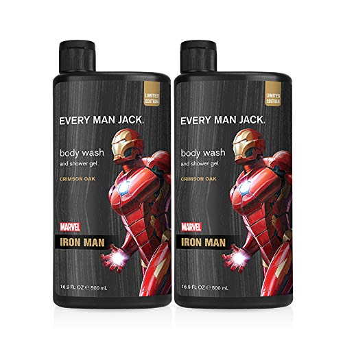 Every Man Jack Body Wash - Marvel Iron Man | 16.9-ounce Twin Pack - 2 Bottles Included | Naturally Derived, Parabens-free, Pthalate-free, Dye-free, and Certified Cruelty Free