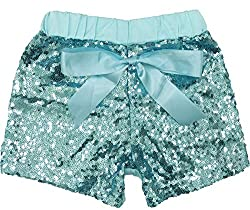 Turquoise Sequin Short Pants with Bow
