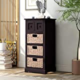 SSLine Tall Espresso Bedside Table Solid Wood Nightstand Antique Sofa Side End Table with 3 Baskets and 2 Small Storage Drawers Farmhouse Accent Table Cabinet for Living Room Bedroom -Fully Assembled