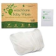 OrganicMom® 15 Waschbare Baby Pflegetücher aus Bambus, inkl. Wäschenetz, nachhaltige waschbare Feuchttücher, Ersatz für Einweg-Feuchttücher, Baby Waschlappen Bambus, Hygienetücher, Reinigungstücher