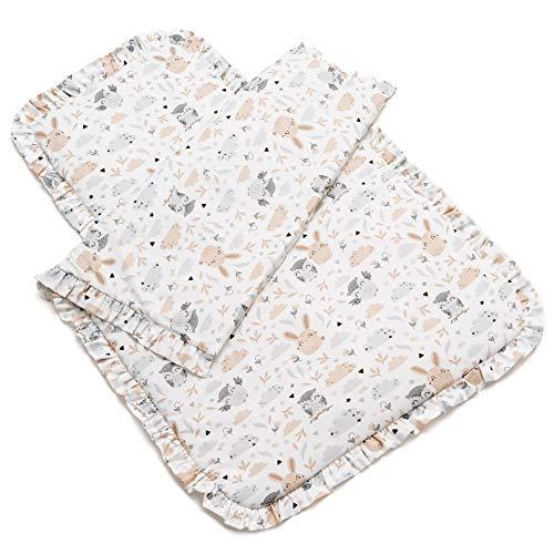 EliMeli - Juego de ropa de cama para bebé (70 x 100 cm, con relleno, 100% algodón de alta calidad), diseño de búhos y conejos