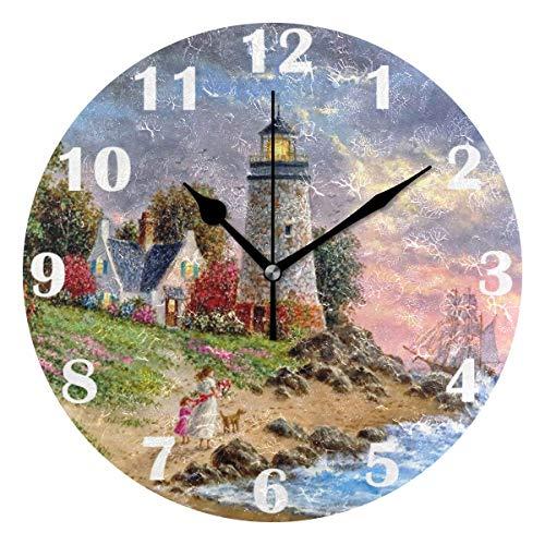 FETEAM Summer Lighthouse Ocean Dove Reloj de Pared Silenciosos Relojes Florales Tropicales con Pilas Reloj de Escritorio Vintage de 10 Pulgadas de Cuarzo