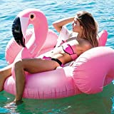 TURNMEON Large Inflatable Pink Flamingo Pool Float Party Toys with Durable Handles, Summer Beach Float Swimming Pool Inflatables Ride-on Pool Toys Raft Lounge for Kids Teens(51'x 51' x 39')