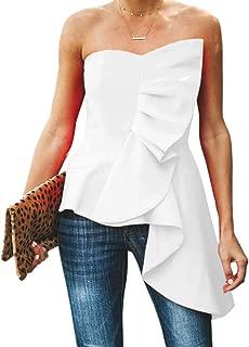 SAIKESIGIRL Womens Asymmetrical Tube Tops Ruffle Strapless Statement Party Blouse Shirt